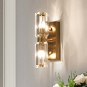 Gold 2/4-Bulb LED Wall Lamp Retro Crystal Block Linear Wall Mount Light for Living Room