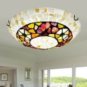Mediterranean Bowl Shade Flush Mount Lamp 2/3/4 Lights Shell Flush Ceiling Light in White for Bedroom