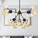 Metal Sputnik Pendant Chandelier Modern 18 Bulbs Black Hanging Light Kit with Amber Glass Shade