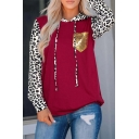 Red Trendy Long Sleeve Drawstring Leopard Print Sequined Pocket Patched Loose Hoodie for Girls
