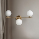 3 Bulbs Bedroom Wall Lamp Contemporary Gold Sconce Light Fixture with Round Milky Glass Shade