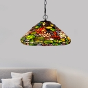 Victorian Conical Hanging Chandelier 2 Lights Green Stained Glass Suspension Pendant for Dining Room