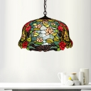 Flower Hanging Chandelier Tiffany-Style Red/Orange/Green Stained Glass 3 Lights Pendant Lamp for Dining Room
