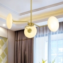 Contemporary Shpere Ceiling Chandelier Opal Glass 3 Heads Hanging Pendant Light in Gold