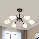 White Glass Flared Chandelier Lighting Contemporary 6 Bulbs Hanging Light Fixture in Black