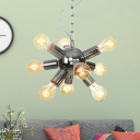 Sputnik Chandelier Light Modernist Metal 9/12 Bulbs Chrome Suspended Lighting Fixture