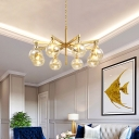 Radial Hanging Chandelier Modern Metal 8 Heads Gold Ceiling Pendant Light with Amber Glass Shade