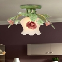 1 Bulb Scalloped Ceiling Flush Mount Traditional Green Satin Opal Glass Semi Mount Lighting for Bedroom