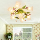 4/7 Bulbs Spiral Ceiling Light Fixture Traditional Green Satin Opal Glass Semi Flush Mount Lighting for Bedroom
