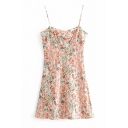 Ladies' Pretty Sleeveless All Over Floral Print Zip Side Short A-Line Dress in Pink
