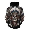 Tribal Style Chief Skull Eagle Ox-Head Wolf 3D Pattern Long Sleeve Relaxed Fit Indian Hoodie