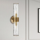 2 Heads Bedroom Sconce Modern Brass Wall Light Fixture with Cylinder Crackle Glass Shade