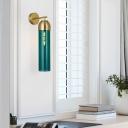 Tubular Living Room Sconce Light Modernist Cream/Green Glass 1 Bulb Wall Lighting Fixture