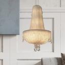 6 Lights Chandelier Lighting Fixture Rural Chain Fringe Crystal Suspension Pendant in White for Kitchen