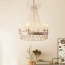 Crystal Candle Chandelier Light Traditional-Style 6 Lights Living Room Down Lighting in Distressed White