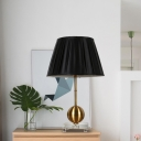 Traditionalist Ball Nightstand Light Single Bulb Metal Table Lamp in Black with Crystal Square Pedestal