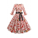 Vintage Fancy Ladies Ruffle Sleeve Boat Neck Zipper Back All Over Santa Claus and Reindeer Print Bow Tie Waist Midi Pleated Swing Dress