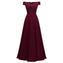 Formal Women's Sleeveless Off Shoulder Maxi Plain Pleated A-Line Gown Dress