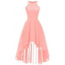 Glamorous Ladies' Sleeveless Crew Neck Mesh Patched Plain Long High Low Pleated A-Line Dress