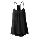 Casual Basic Sleeveless Cut Out Back Ruched Plain Relaxed Fit Cami Top for Ladies