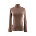 Cozy Plain Long Sleeve Turtleneck Slim Fit Stretchy T-Shirt for Female