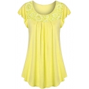 Basic Summer Short Sleeve Round Neck Lace Patched Pleated Loose Fit T Shirt for Women