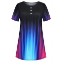 Fashion Women's Short Sleeve Round Neck Button Front Contrasted Longline Relaxed Tee in Black