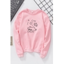 Preppy Girls' Cute Long Sleeve Crew Neck Letter A CAT Kitty Print Loose Fit Pullover Sweatshirt