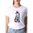 Funny Girls Floral Dog Pattern Short Sleeves Round Neck White Loose T-Shirt