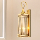 Rectangle Bedroom Wall Sconce Traditional Metal 3 Bulbs Gold Wall Lighting Fixture