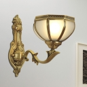 1/2-Head Wall Light Traditionalism Bowl Metal Wall Sconce Lighting in Brass for Bedroom