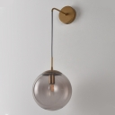 Sphere Wall Sconce Retro 1 Light Clear/Smoke Grey Glass Wall Mount Lamp with Long Gold/Black Arm