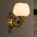 1 Bulb Wall Light Sconce with Lotus Shade White Glass Traditional Stylish Hallway Wall Mount Lamp in Brass
