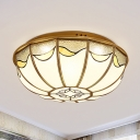 4/5 Lights Bedroom Ceiling Lamp Vintage Gold Flush Mount with Bowl Milky Glass Shade, 18