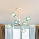 Blue/Tan Glass Dome Chandelier Pendant Light Modernism Style 6/8 Heads Hanging Light Fixture for Bedroom