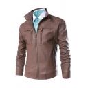 Mens Casual Plain Long Sleeves Zip Placket Slim Fit PU Leather Jacket