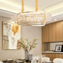 Gold Rectangle Island Light Modernist 8 Bulbs Crystal Suspended Lighting Fixture for Bedroom