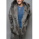Mens Unique Fox Ear Hooded Long Sleeve Plain Gray Oversized Faux Mink Coat