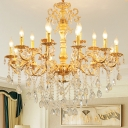 Modernism Candle Chandelier Clear Crystal Glass 8/10/12 Bulbs Living Room Pendant Ceiling Light in Brass