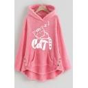 Womens Lovely Sleeping Cat Print Long Sleeve High Low Hem Oversized Plush Hoodie