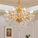 Modernist Candelabra Ceiling Chandelier Beveled Glass Crystal 8 Bulbs Living Room Pendant Light Fixture in Gold