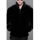 Mens Simple Black Plain Stand Collar Long Sleeve Zip Up Warm Mink Coat Jacket