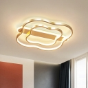 Metal Wave Flush Light Fixture Postmodern Gold 21