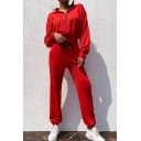Sport Fashion Plain Long Sleeve Half Zip Sweatshirt with Loose Sweatpants Two-Piece Set