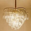Swirl Clear Crystal Block Hanging Light Fixture Modernism 5 Heads Gold Chandelier Light