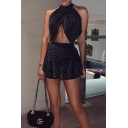 Ladies Sexy Bling Bling Fashion Black Halter Top with Mini Ruffled Skirt Two Piece Set