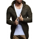 Unique Plain Ruched Long Sleeve Side Lace-Up Zip Placket Slim Fit Hooded Cardigan Coat