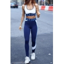 Sport Fashion Letter Tape Decoration Racerback Crop Tank Top & Colorblock Pants Co-ords