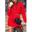 Womens Street Style Plain Red Cropped Drawstring Hoodie & Mini Skirt Casual Co-ords