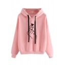 Women's Korean Style Fashion Long Sleeve Drawstring Finger Heart Print Baggy Hoodie